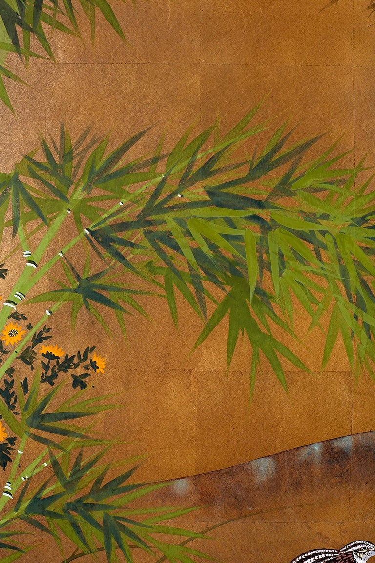 Japanese Four Panel Screen Quail in Flower Bamboo Landscape For Sale 5