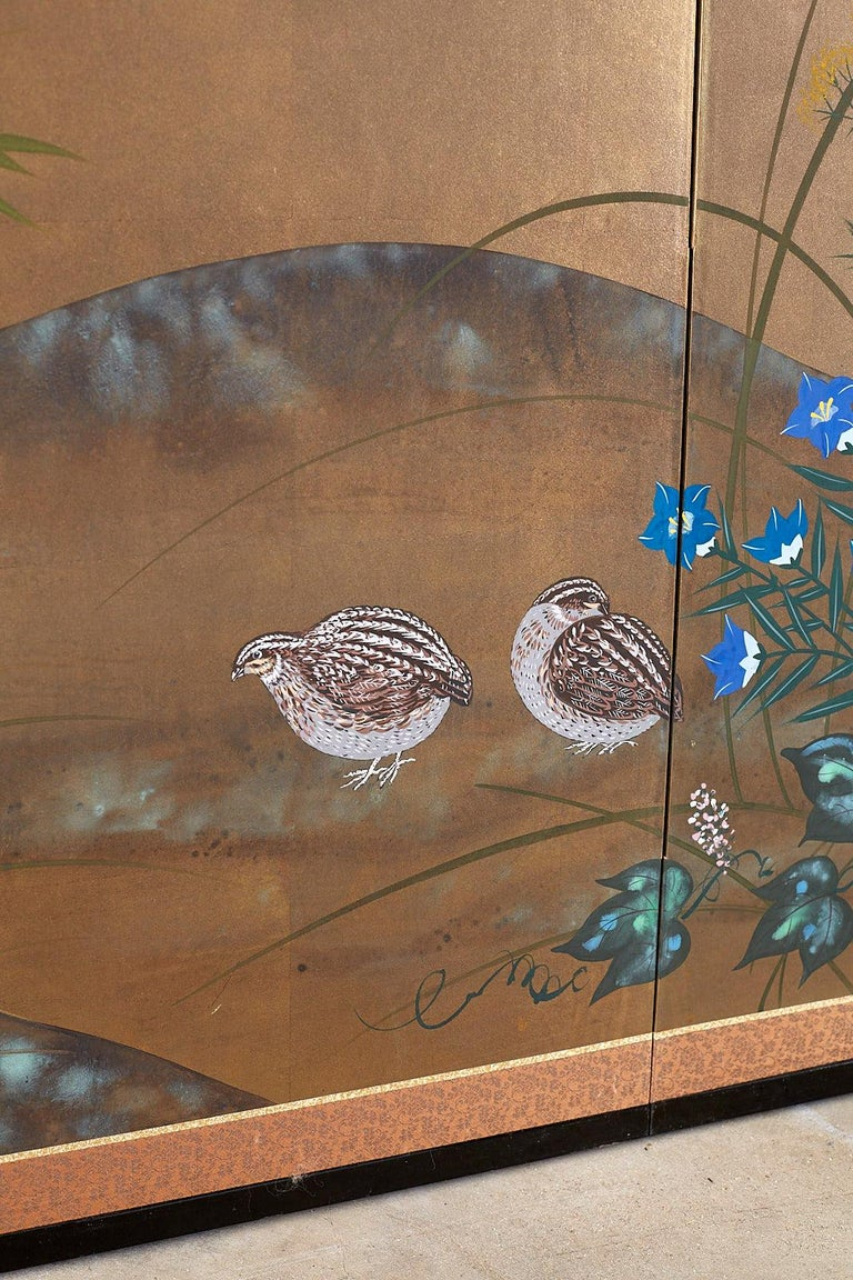 Japanese Four Panel Screen Quail in Flower Bamboo Landscape For Sale 6