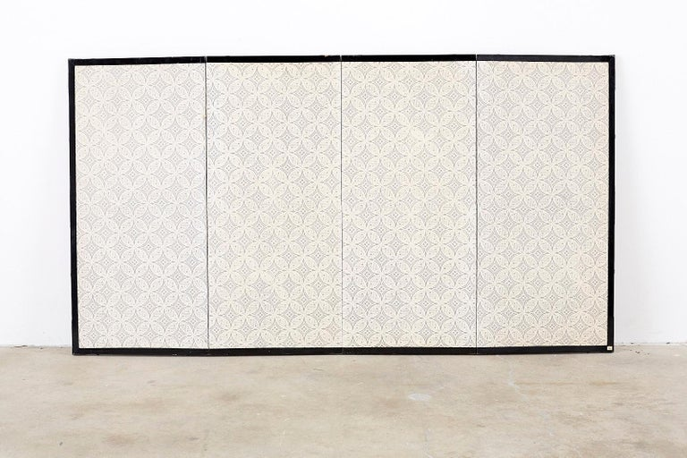 Japanese Four Panel Screen Quail in Flower Bamboo Landscape For Sale 11