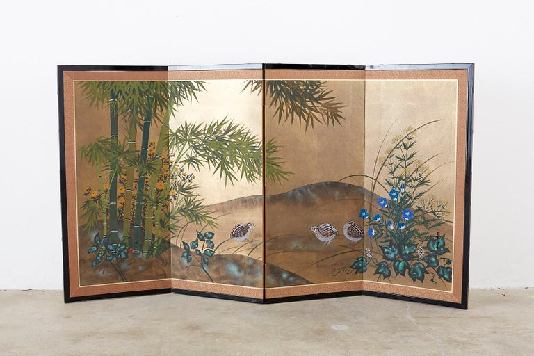 Mid-Century Modern Japanese Four Panel Screen Quail in Flower Bamboo Landscape For Sale