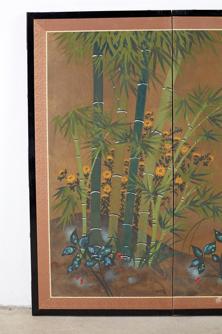 Lacquered Japanese Four Panel Screen Quail in Flower Bamboo Landscape For Sale