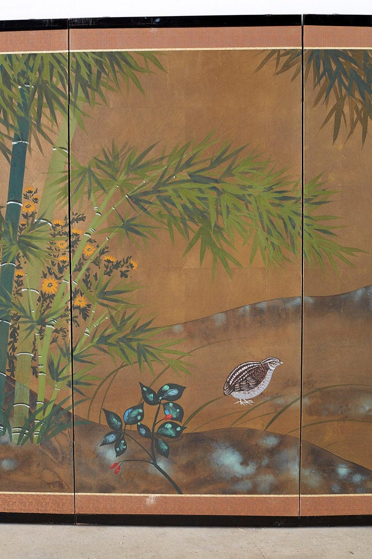 Japanese Four Panel Screen Quail in Flower Bamboo Landscape In Good Condition For Sale In Oakland, CA