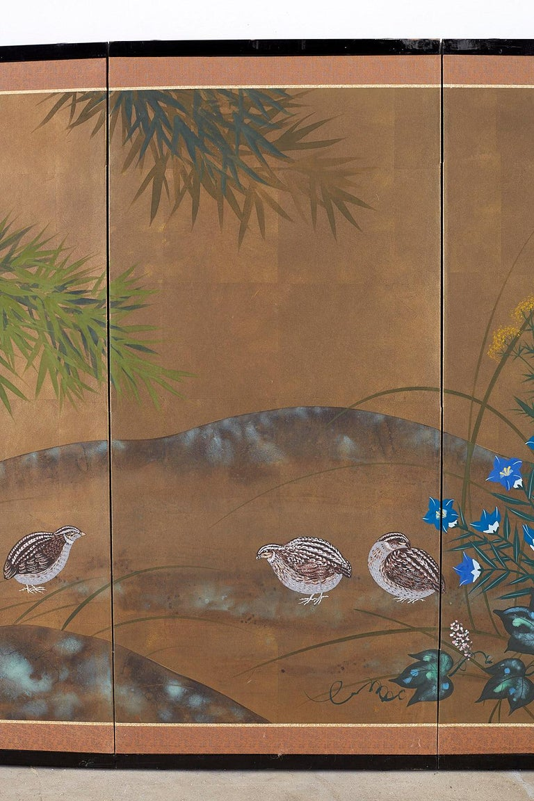 20th Century Japanese Four Panel Screen Quail in Flower Bamboo Landscape For Sale