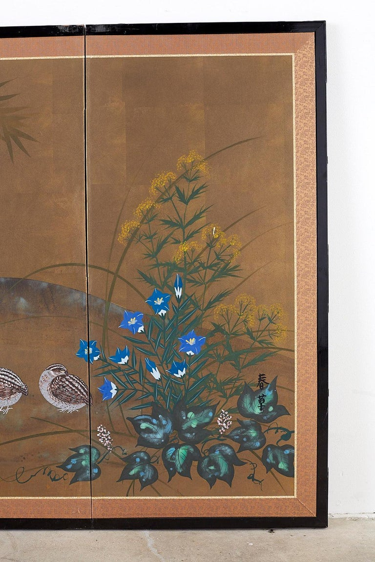 Silk Japanese Four Panel Screen Quail in Flower Bamboo Landscape For Sale