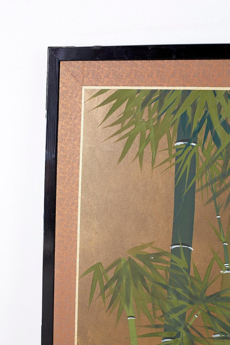 Japanese Four Panel Screen Quail in Flower Bamboo Landscape For Sale 1