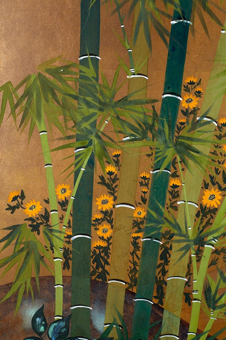 Japanese Four Panel Screen Quail in Flower Bamboo Landscape For Sale 2