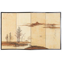 Japanese Four-Panel Screen River Landscape Scene