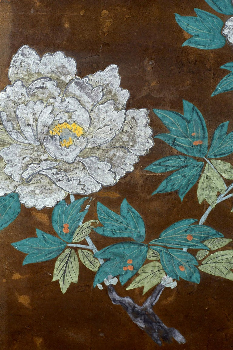 Japanese Four-Panel Screen Seasonal Flowers on Gilt For Sale 4
