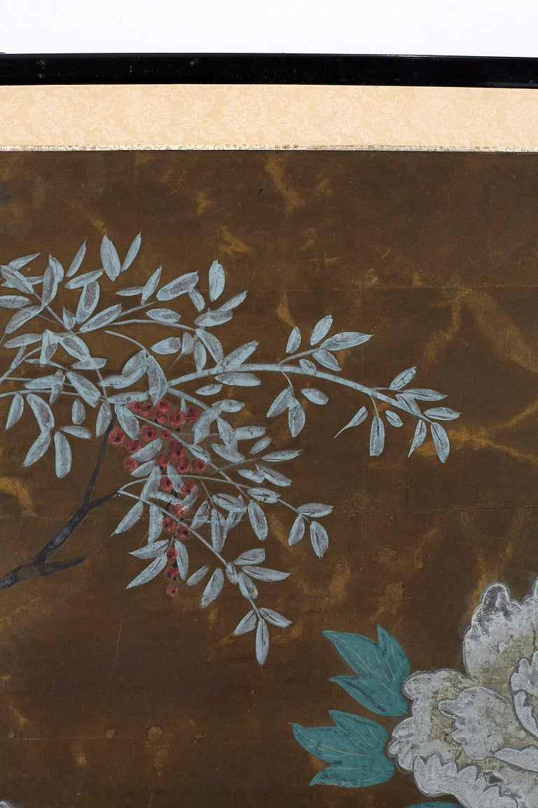 Japanese Four-Panel Screen Seasonal Flowers on Gilt For Sale 5