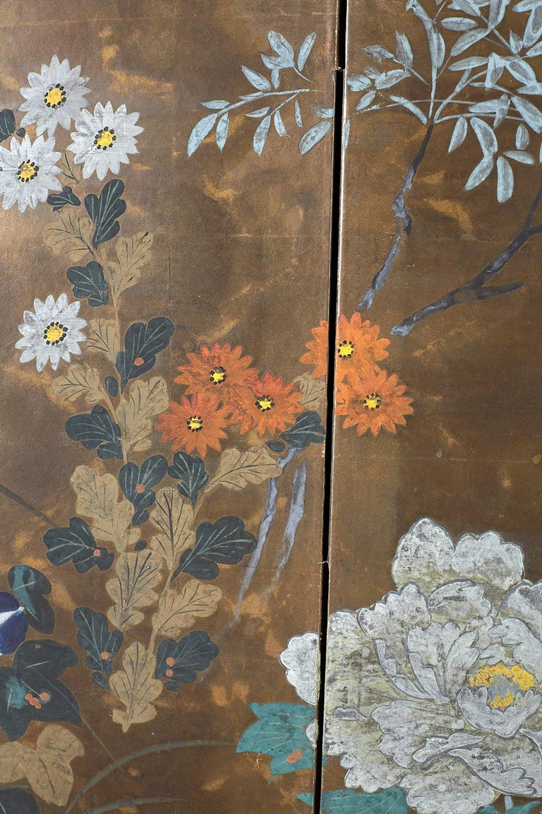 Japanese Four-Panel Screen Seasonal Flowers on Gilt For Sale 6