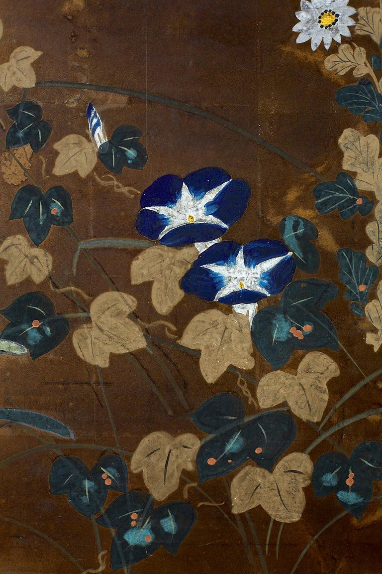 Japanese Four-Panel Screen Seasonal Flowers on Gilt For Sale 7