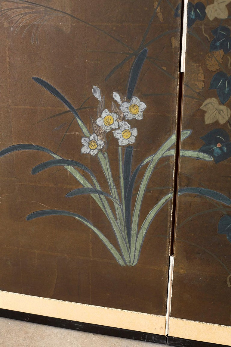 Japanese Four-Panel Screen Seasonal Flowers on Gilt For Sale 8