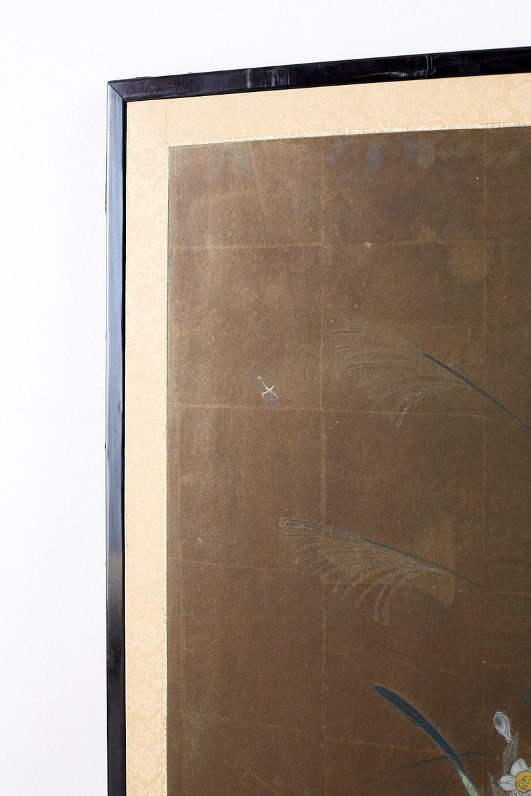 Japanese Four-Panel Screen Seasonal Flowers on Gilt For Sale 9