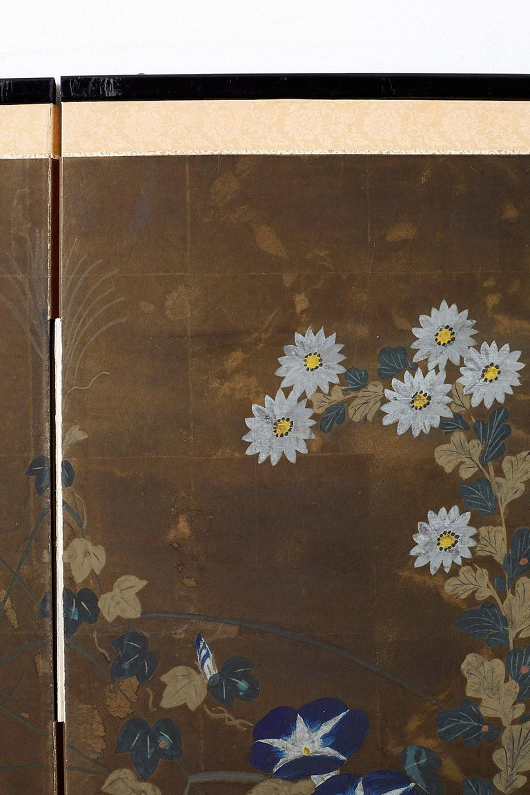 Japanese Four-Panel Screen Seasonal Flowers on Gilt For Sale 10