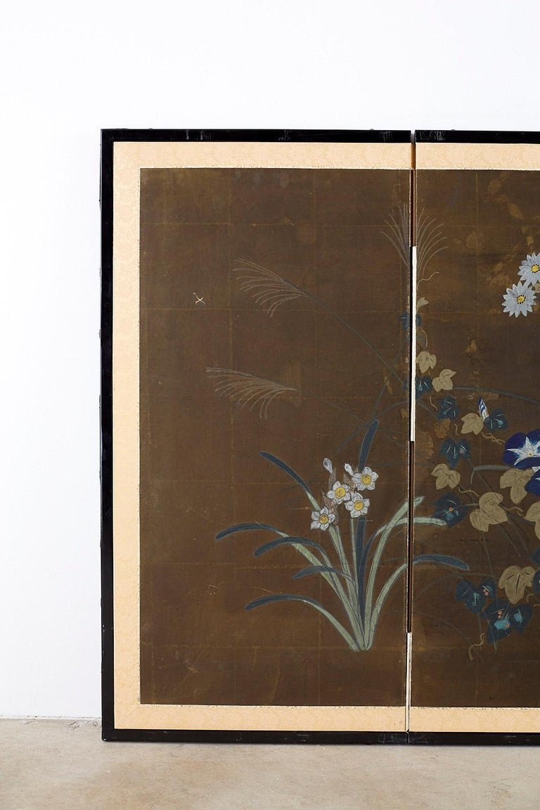Japanese Four-Panel Screen Seasonal Flowers on Gilt In Fair Condition For Sale In Oakland, CA