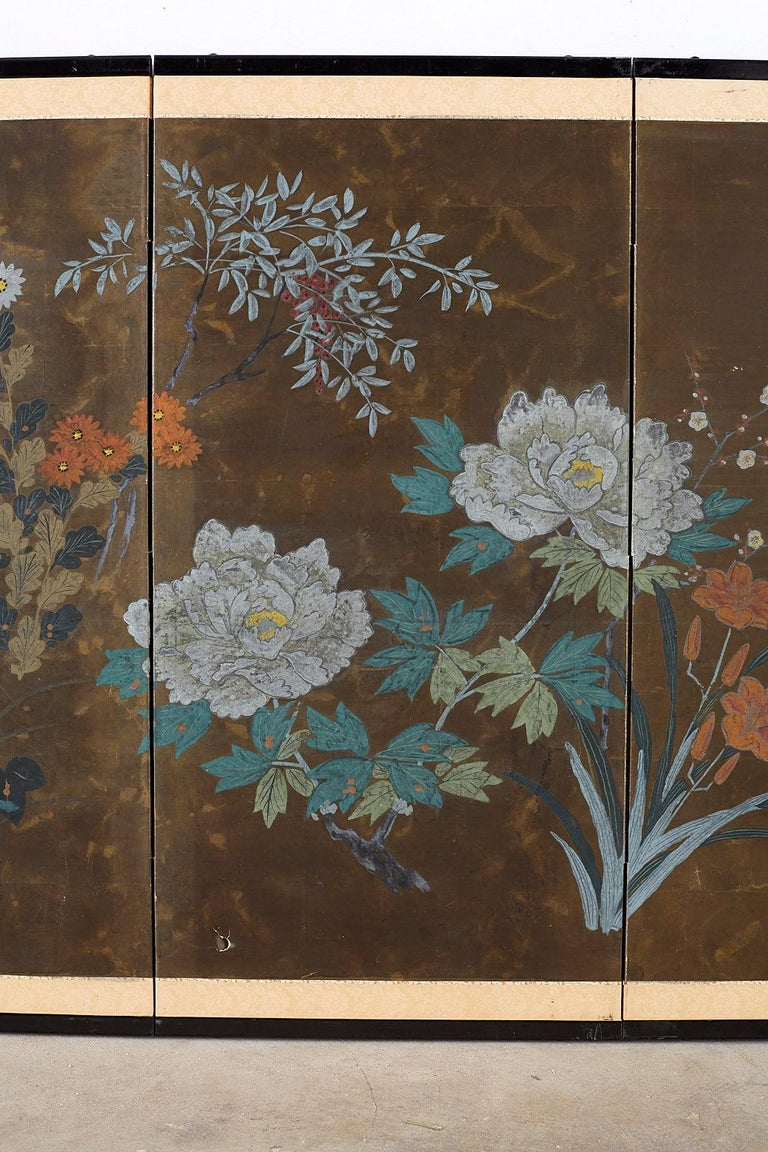 Silk Japanese Four-Panel Screen Seasonal Flowers on Gilt For Sale