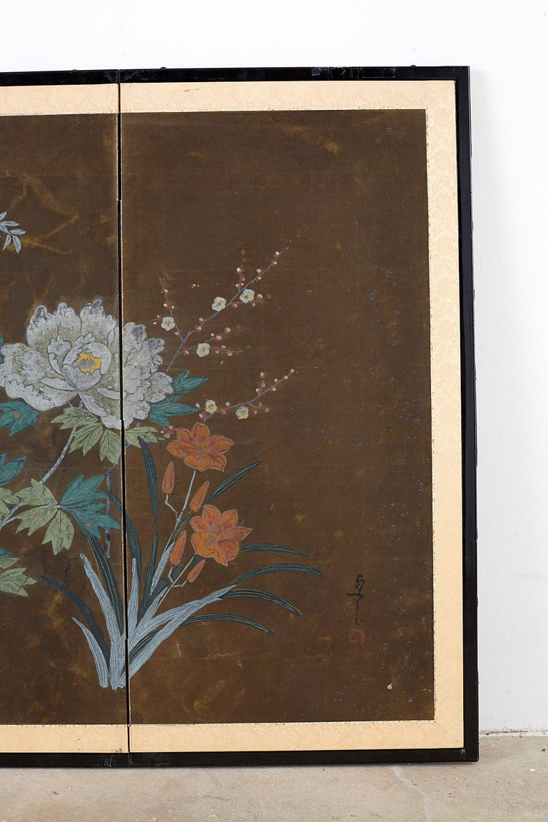 Japanese Four-Panel Screen Seasonal Flowers on Gilt For Sale 1