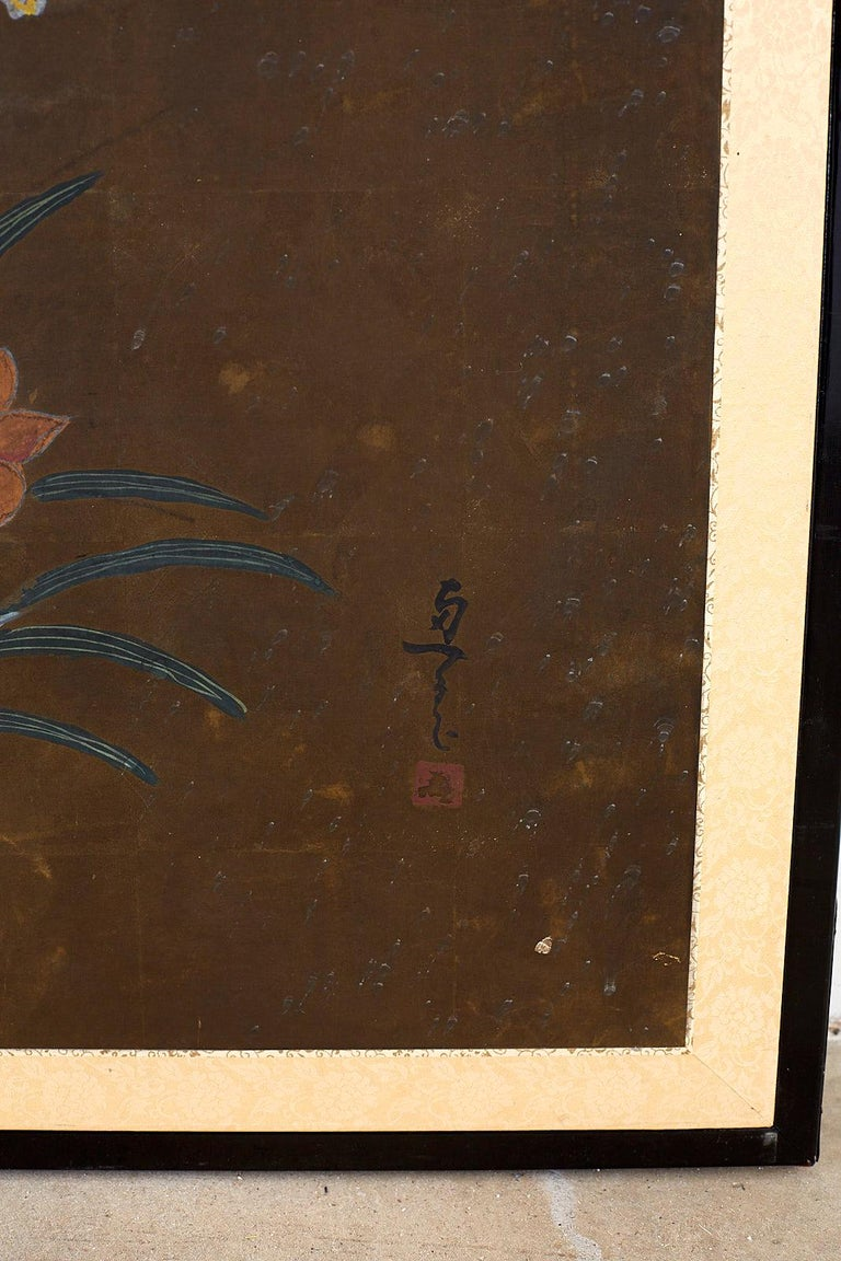 Japanese Four-Panel Screen Seasonal Flowers on Gilt For Sale 2