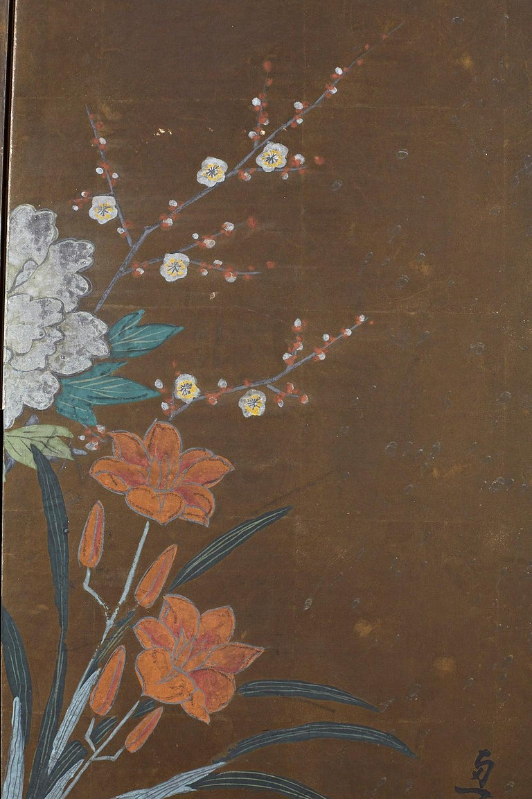 Japanese Four-Panel Screen Seasonal Flowers on Gilt For Sale 3
