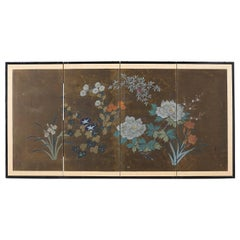 Japanese Four-Panel Screen Seasonal Flowers on Gilt