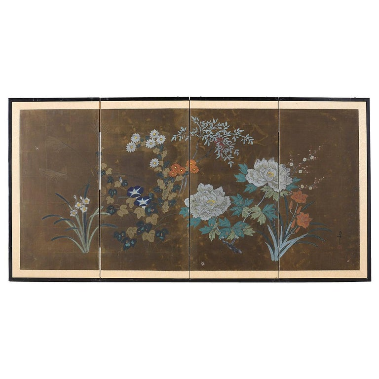Japanese Four-Panel Screen Seasonal Flowers on Gilt For Sale