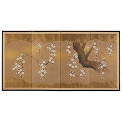 Japanese Four Panel Screen Spring Cherry Blossoms