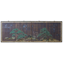 Japanese Four-Panel Screen Three Friends of Winter