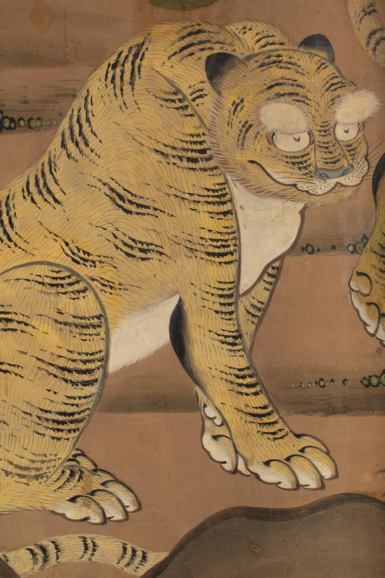 Two tigers exchanging amorous glances. Kano School painting.