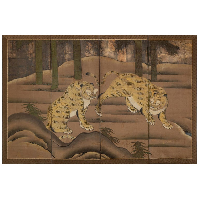 Japanese Four Panel Screen: Two Tigers For Sale