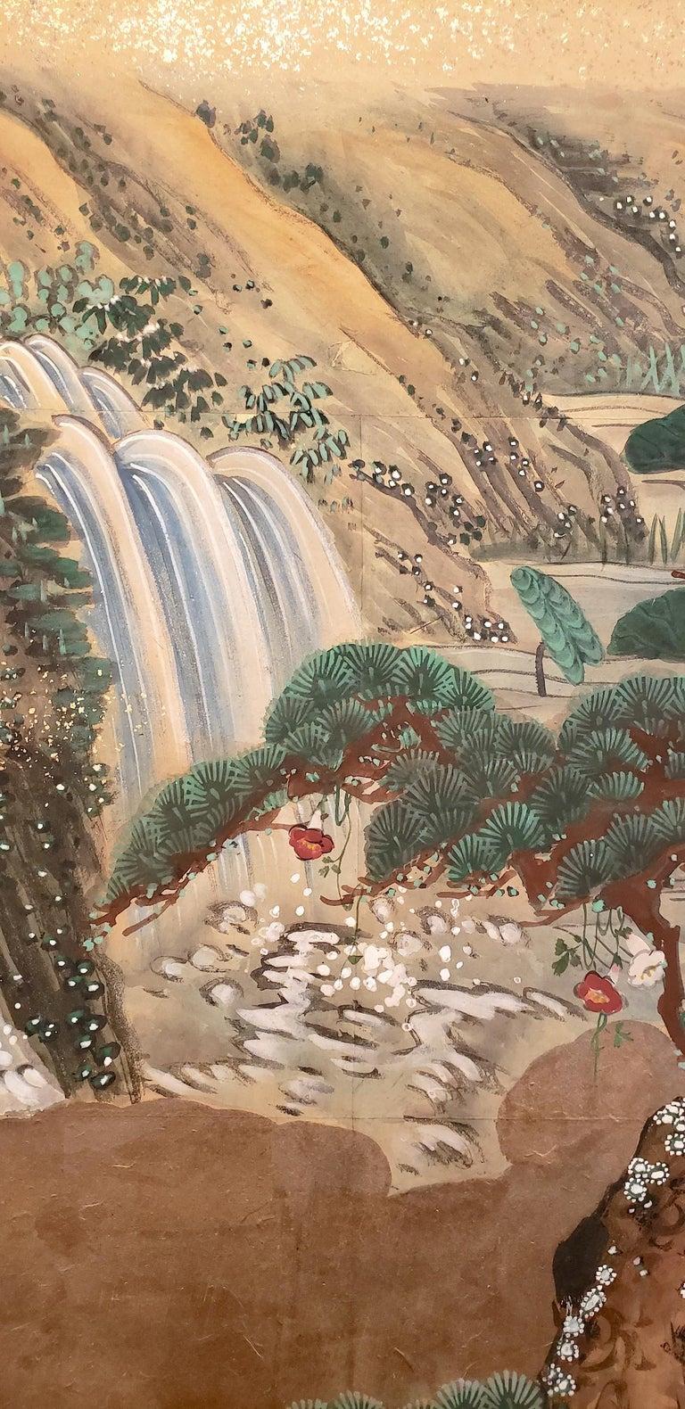 Meiji Japanese Four-Panel Screen Water Landscape For Sale