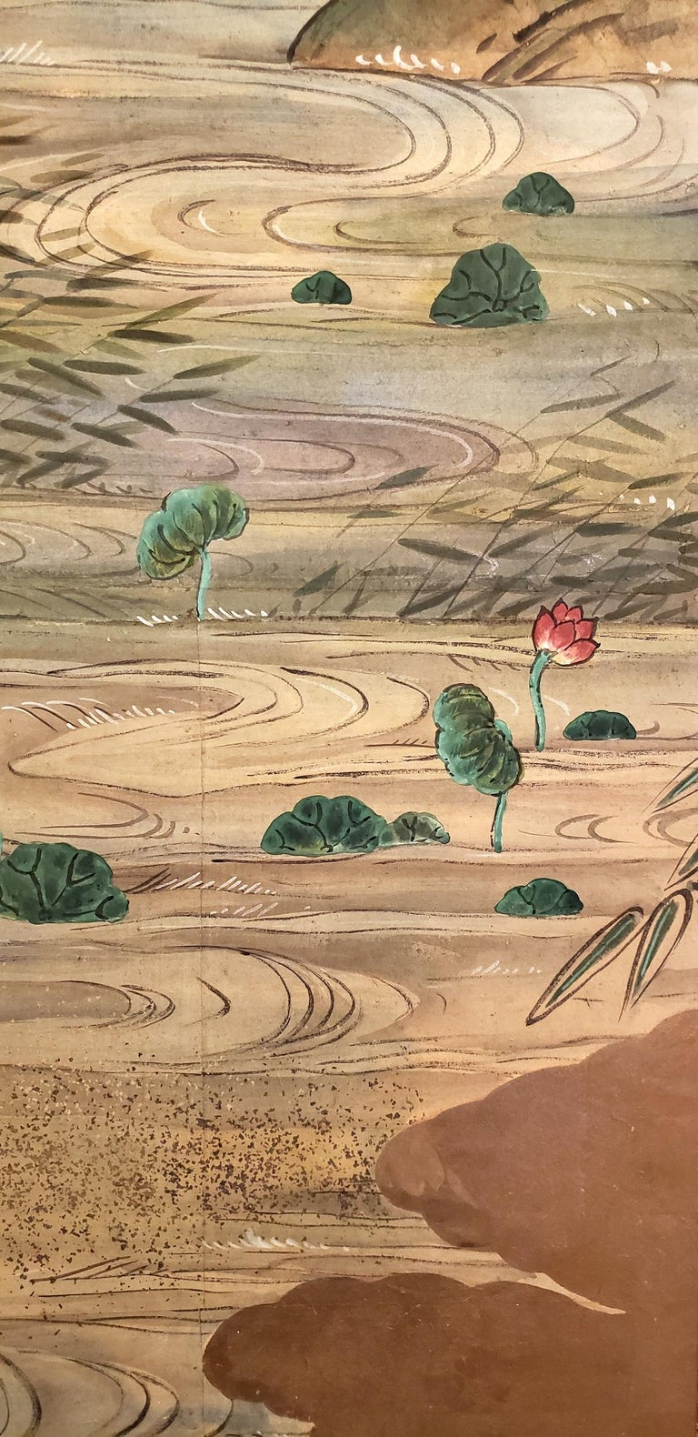 Early 20th Century Japanese Four-Panel Screen Water Landscape For Sale