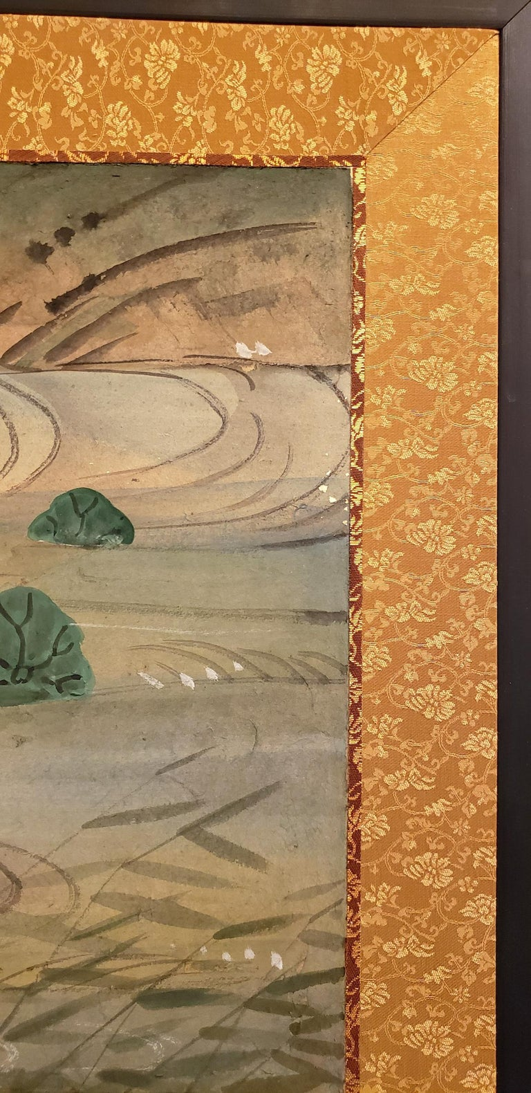 Japanese Four-Panel Screen Water Landscape For Sale 1
