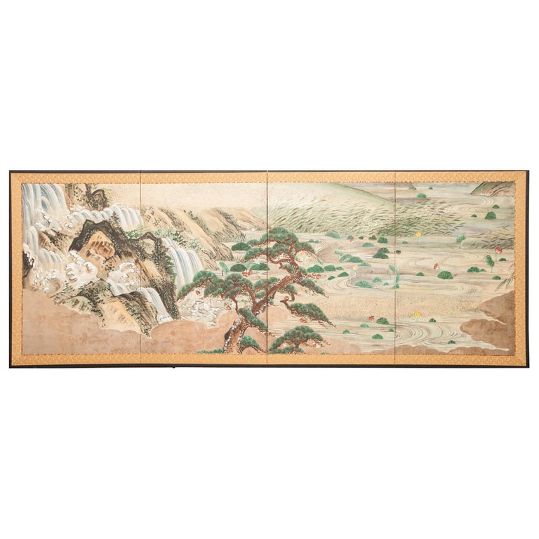 Japanese Four-Panel Screen Water Landscape For Sale
