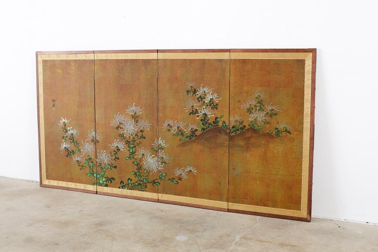 Mid-Century Modern Japanese Four Panel Screen White Chrysanthemums on Gilt For Sale