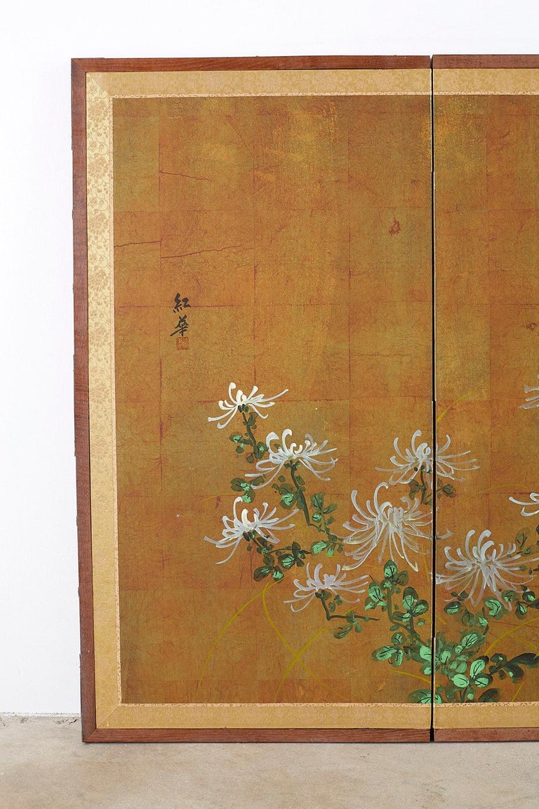 Japanese Four Panel Screen White Chrysanthemums on Gilt In Good Condition For Sale In Oakland, CA
