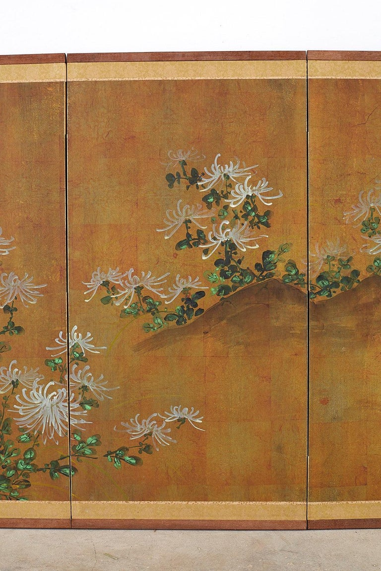 Brass Japanese Four Panel Screen White Chrysanthemums on Gilt For Sale