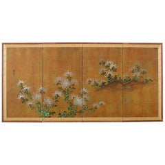 Japanese Four Panel Screen White Chrysanthemums on Gilt
