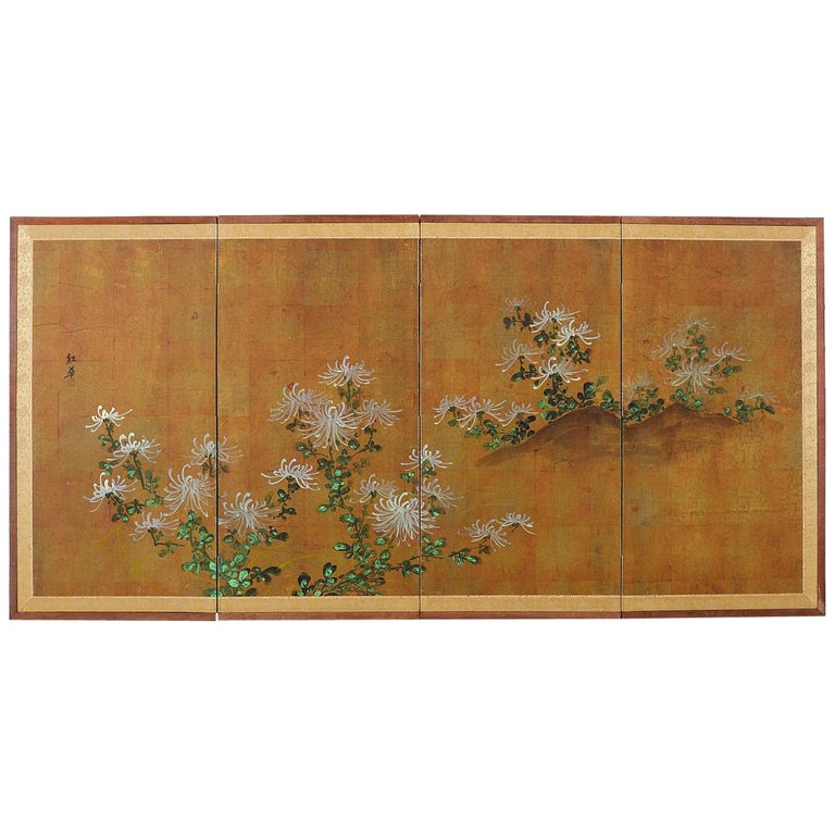 Japanese Four Panel Screen White Chrysanthemums on Gilt For Sale