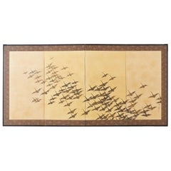 Japanese Four-Panel Screen Wild Geese in Flight