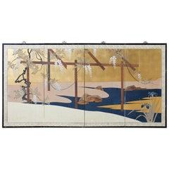 Japanese Four-Panel Screen Wisteria Iris Spring Landscape