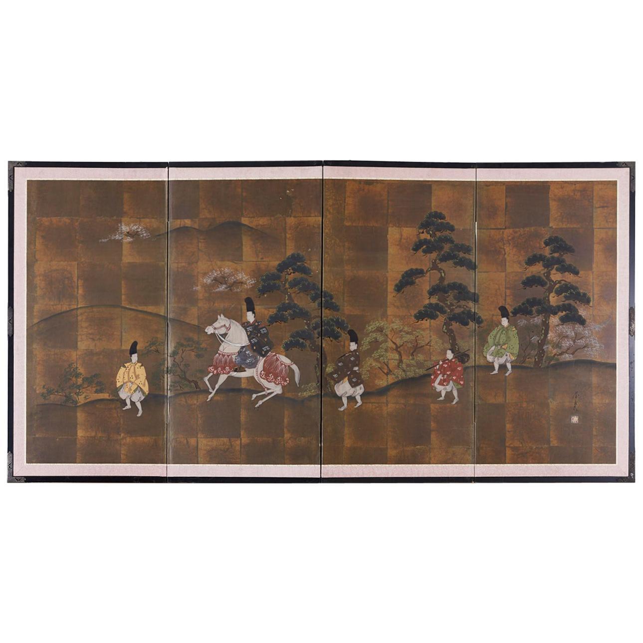 Japanese Four Panel Showa Period Narrative Tale Screen