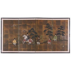 Japanese Four Panel Showa Period Narrative Tale Screen