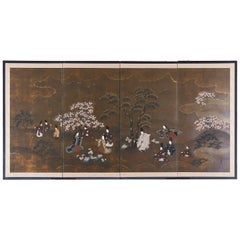 Japanese Four Panel Showa Period Spring Tales Screen