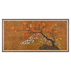 Japanese Four-Panel Showa Screen Autumn Maple and Chrysanthemums