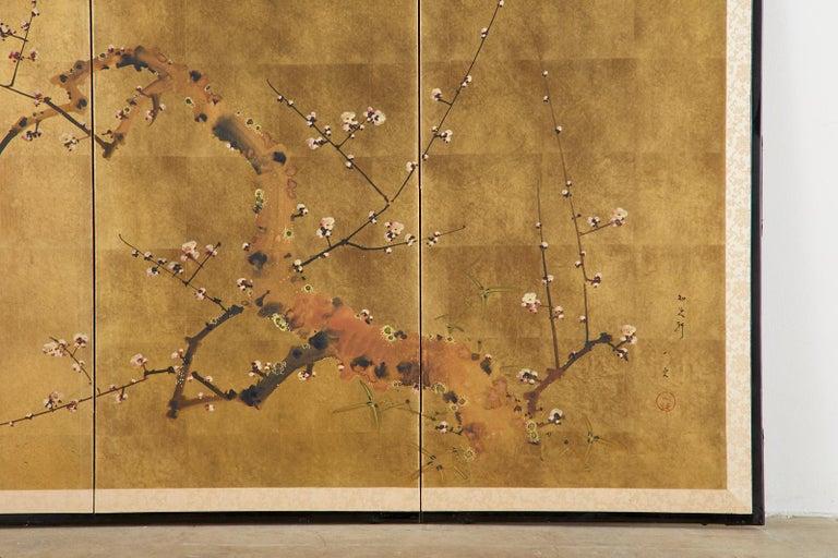 Japanese Four-Panel Showa Screen Flowering Plum Tree For Sale 4