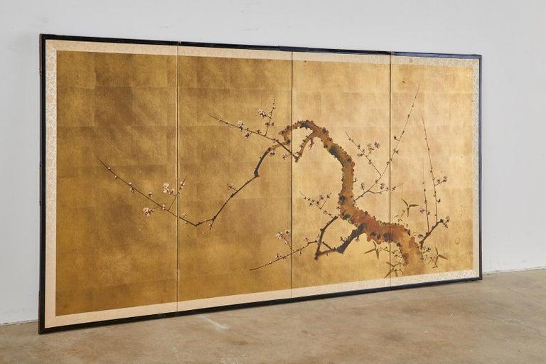 Japanese Four-Panel Showa Screen Flowering Plum Tree For Sale 7