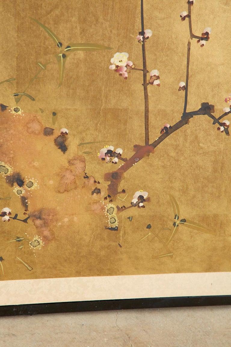 Japanese Four-Panel Showa Screen Flowering Plum Tree For Sale 8