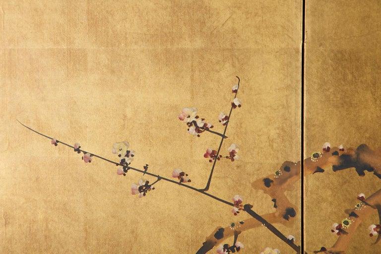 Japanese Four-Panel Showa Screen Flowering Plum Tree For Sale 10
