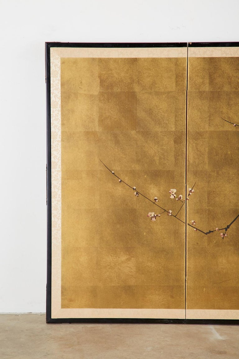 Ebonized Japanese Four-Panel Showa Screen Flowering Plum Tree For Sale