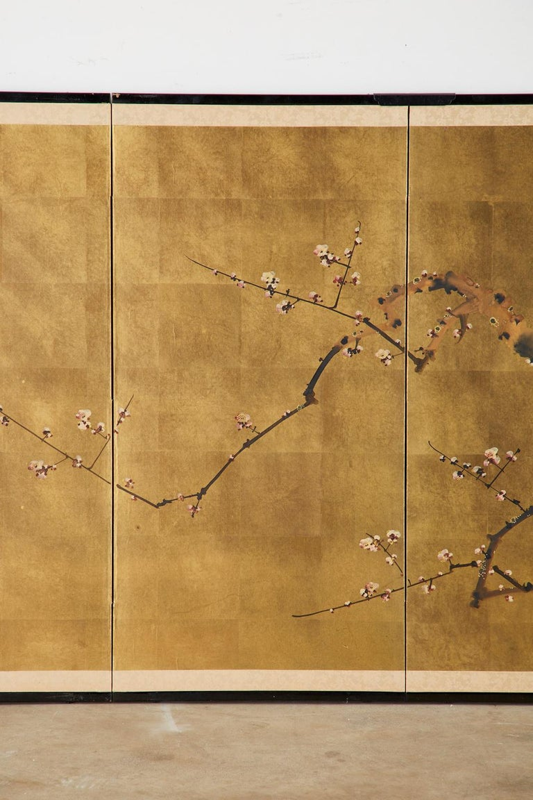 Japanese Four-Panel Showa Screen Flowering Plum Tree In Good Condition For Sale In Rio Vista, CA